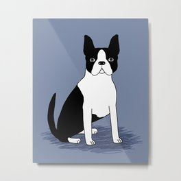 Boston Terrier cute black and white navy pastel blue dog art print gift for dog person with terrier Metal Print