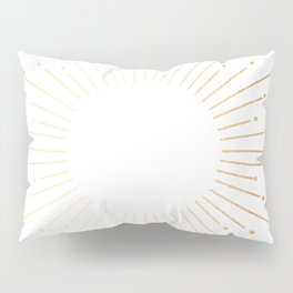Sunburst Gold Copper Bronze on White Pillow Sham