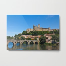 Old cathedral and bridge in Beziers, southern France Metal Print