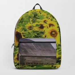 Summer Sunflower Fields, New England by Jeanpaul Ferro Backpack