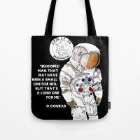 nasa Tote Bags featuring NASA Astronaut - Cristina Curto by Cristina Curto