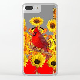 MODERN ABSTRACT RED CARDINAL YELLOW SUNFLOWERS GREY ART Clear iPhone Case
