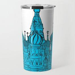Moscow Kremlin illustration with colored backplate. Travel Mug