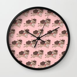 Lady Frenchie is going out for a walk with her friends Wall Clock