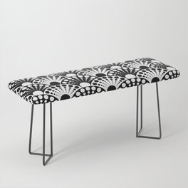 black and white art deco inspired fan pattern Bench