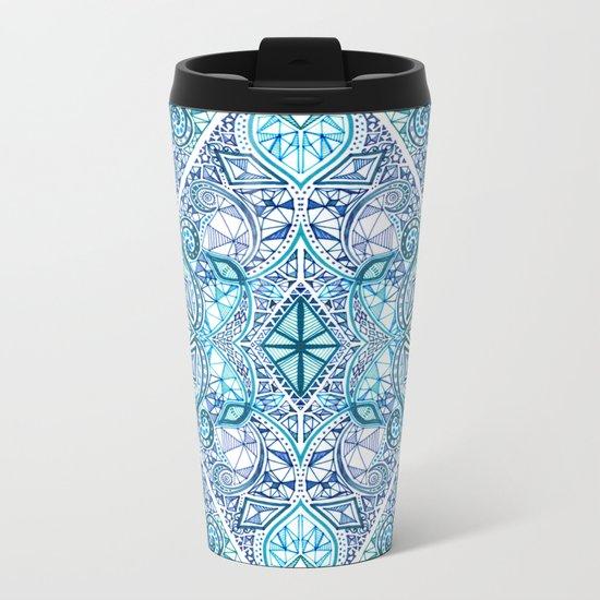 Blue and Teal Diamond Doodle Pattern Metal Travel Mug