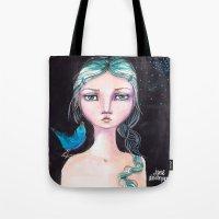 jane davenport Tote Bags featuring Blue Bird by Jane Davenport by Jane Davenport