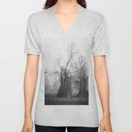 barren tree in the fog Unisex V-Neck
