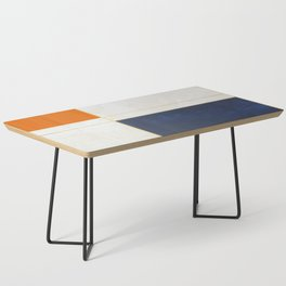 Orange, Blue And White With Golden Lines Abstract Painting Coffee Table
