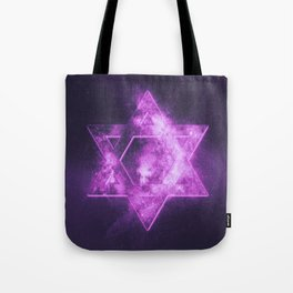 Magen David symbol, Star of David. Abstract night sky background. Tote Bag