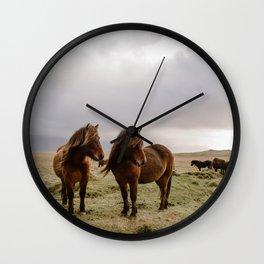 Two Icelandic Ponies Wall Clock