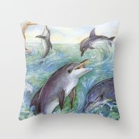 dolphins Throw Pillows featuring Dolphins by Natalie Berman