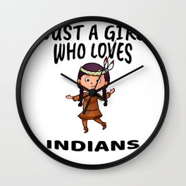 Girl loves Indians Wall Clock