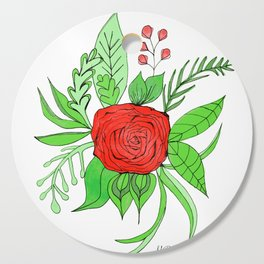Single Rose Bouquet Cutting Board