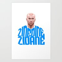 zidane Art Prints featuring Zidane Name Blue by Sport_Designs