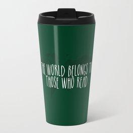 The World Belongs to Those Who Read (Green) Travel Mug