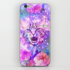 Space Cat | Girly Kitten Cat Romantic Floral Pink Nebula Space iPhone & iPod Skin
