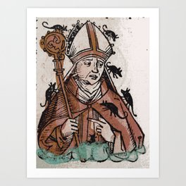 Archbishop Hatto eaten alive by mice in 974 A.D. Art Print