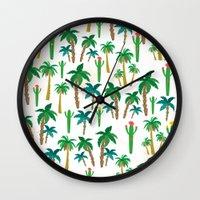 palm Wall Clocks featuring palm by Ceren Aksu Dikenci