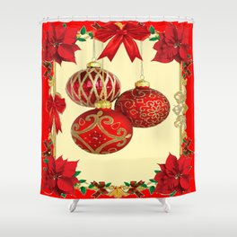 RED CHRISTMAS POINSETTIAS FLOWER CHRISTMAS ORNAMENTS Shower Curtain