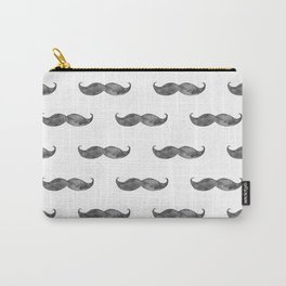 Black mustache watercolor. Mens illustration. Hipster pattern. Gray art Carry-All Pouch