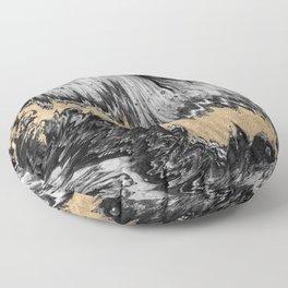 Abstract black white gold waves brushstrokes pattern Floor Pillow