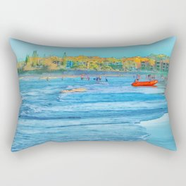 Abstract summer fun and surf rescue boat Rectangular Pillow