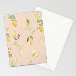 Watercolor Kumquat Peach Background Stationery Cards