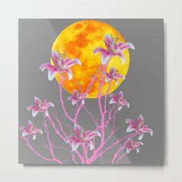 GREY PINK ASIATIC STAR LILIES MOON FANTASY Metal Print