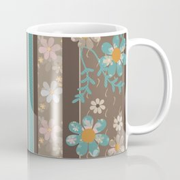 Retro . Turquoise and brown floral pattern . Coffee Mug