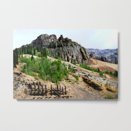 Eureka Mine and Rocky Crags Towering Overhead Metal Print