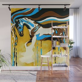 Horse Flying Blue and Brown Wall Mural