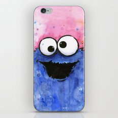 Cookie Monster Funny Cartoon Character Watercolor Blue Pink iPhone & iPod Skin