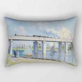 The Railroad Bridge at Argenteuil by Claude Monet Rectangular Pillow