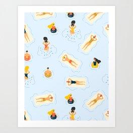 Abstract Summer Fun Bathing Time Pattern Art Print