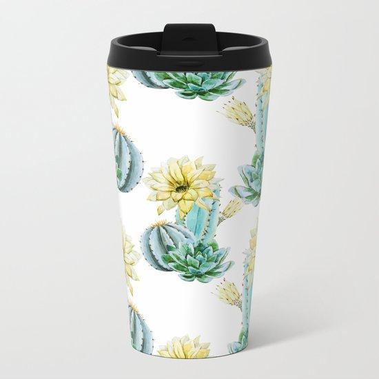 Cactus Pattern 03 Metal Travel Mug