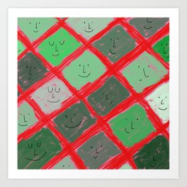 Cute pattern with smiling faces Art Print