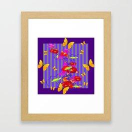 GOLDEN BUTTERFLIES &  RED FLOWER GARDEN Framed Art Print