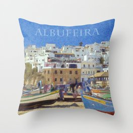 Albufeira fishing boats, Portugal Throw Pillow