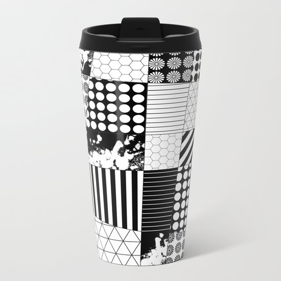 Mosaic Contrast - Black and white, geometric design Metal Travel Mug
