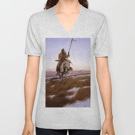 """""""A Cree Indian"""" by Charles Russell Unisex V-Neck"""
