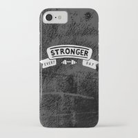 crossfit iPhone & iPod Cases featuring Stronger Every Day (dumbbell, black & white) by Lionheart Art