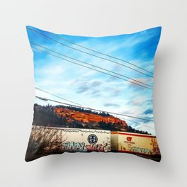 Graffiti and Lines Throw Pillow