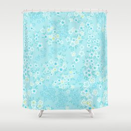 Forget Me Knot - Little Flowers on aqua Shower Curtain