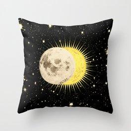 'Imminent Eclipse' Sun Moon & Stars Throw Pillow