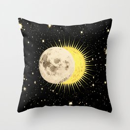 Imminent Eclipse Sun Moon & Stars Space Astronomy Cosmos Solar Lunar Throw Pillow