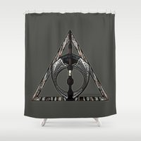 deathly hallows Shower Curtains featuring Master of Death by Talesanura