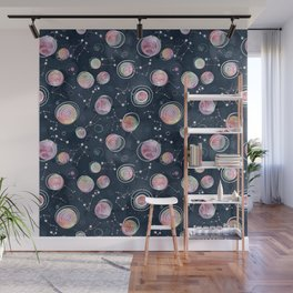 Cosmic Harmony - Watercolor Planets and Constellations Pattern Wall Mural