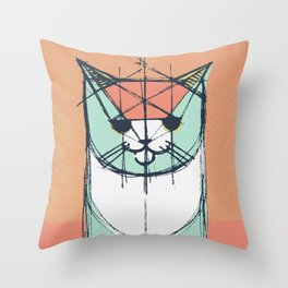 Cubist Cat Study #8 by Friztin Throw Pillow