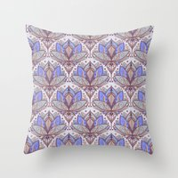 bedding Throw Pillows featuring Art Deco Lotus Rising 2 - sage grey & purple pattern by micklyn